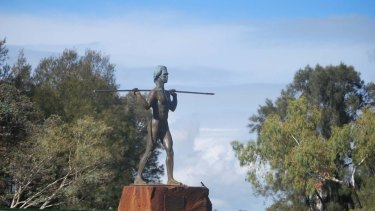 Yagan's statue on Heirisson Island.