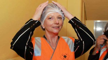 Julia Gillard visits a factory in Sydney. <i>Picture: Getty Images</i>