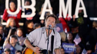 Bruce Springsteen performs at a Democrats rally in Cleveland, Ohio, a key state in the election..