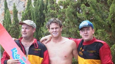 Waterskiing family ... (left to right) Robertson brothers John, Stephen and Barry.
