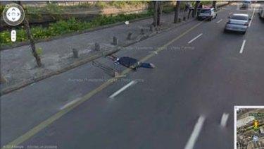 One of the bodies laying on Rio de Janeiro's Avenida Presidente Vargas.
