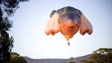 Up, up and away: Both Skywhale and the cost of constructing it rose in Canberra.