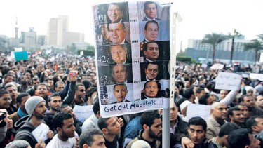 Egyptians call for the ouster of Hosni Mubarak.