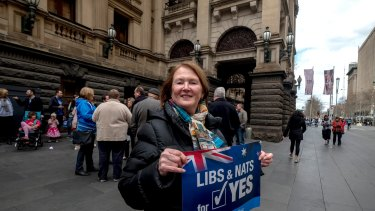 Marg Hawker attends the Victorian Launch of the 'Liberals and Nationals for YES' Campaign.