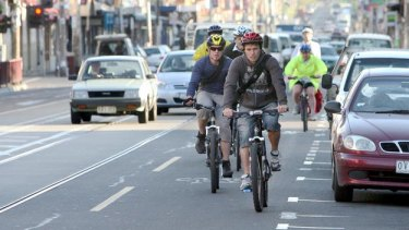 Cyclists on Brunswick Street in Fitzroy.