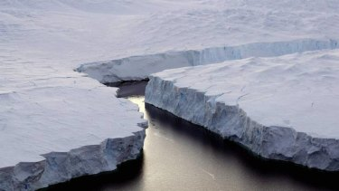 An iceberg breaks off the Knox Coast in Antarctica.