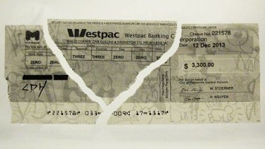An image of the torn-up council cheque was posted on arts industry website artsHub.