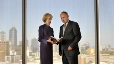 Essential reading: Ross Garnaut discusses his book with Governor-General Quentin Bryce at the launch in Melbourne yesterday.