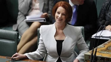 Tearing strips … the Prime Minister has become the darling of the social media set with her excoriation of Tony Abbott in Parliament this week.