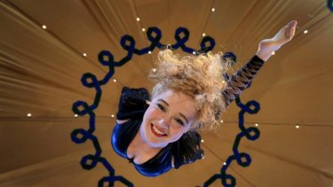Performer Spencer Inwood of Circus Oz on the aerial ring.