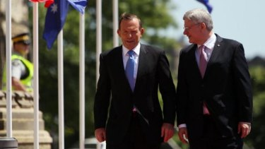 Conservative politicians Statement of intent: Canadian Prime Minister Stephen Harper with Australian Prime Minister Tony Abbott during welcoming ceremonies on Parliament Hill in Ottawa.