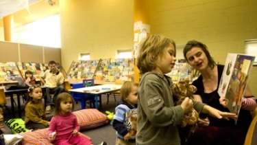 Community hub ... librarian Beth Koorey reads to children, including Sebastian Hill, 3, at Ultimo Library in Sydney during the week.