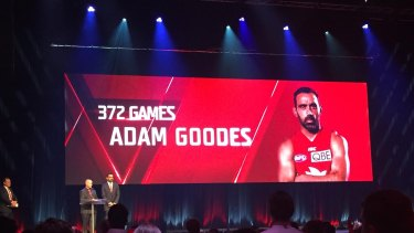 Club icon: Adam Goodes speaking to the Swans faithful on Friday night.