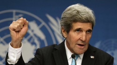 US Secretary of State John Kerry at the Syrian peace talks.