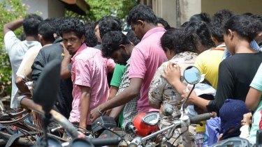Sri Lankan asylum seekers sent back by Australia in Galle in July.