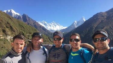 Tough experience: Steve Crowe, Matt Gidley, Mark Hughes, Kurt Gidley and Danny Buderus during their fundraising trek up to Everest base camp.