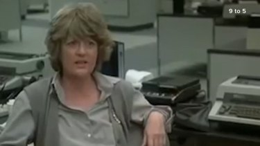 """Peggy Pope as Margaret in 9 to 5, using the catchphrase """"Atta girl"""" to encourage her co-workers played by Dolly Parton, Lily Tomlin and Jane Fonda."""