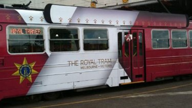 The side view of the tram prepared for the Queen's visit.