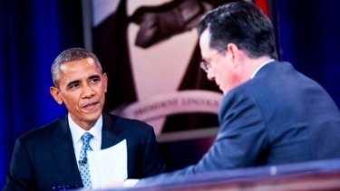 'As you know I, Stephen Colbert, have never cared for our president,' says Barack Obama in tongue-in-cheek interview.
