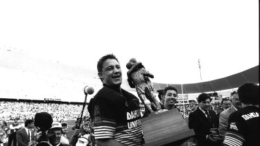 Panther pride: Mark Geyer and Greg Alexander after the 1991 grand final over Canberra.