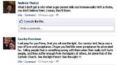 Users bombarded Fiona Simpson's Facebook page with comments angry about her past comments on homosexuality, prompting her to pull down the page today.