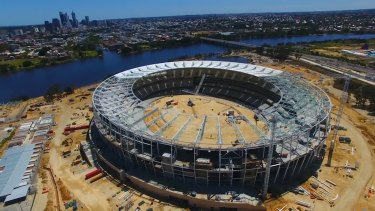 An aerial view of the new Perth Stadium.