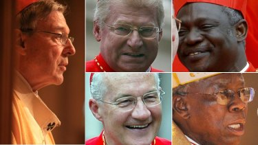 Some of the papal candiates ... Clockwise from left, Cardinal Gerge Pell, Italian Angelo Scola, Ghanian Peter Turkson, Canadian Marc Ouellet and Nigerian Francis Arinze.