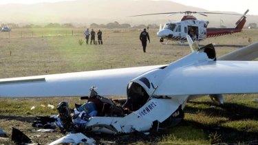 The scene of the glider crash at Ararat airfield.