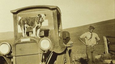Patrick White based his first novel on his time as a jackaroo. He is pictured at Bolaro Station, NSW, about 1931.