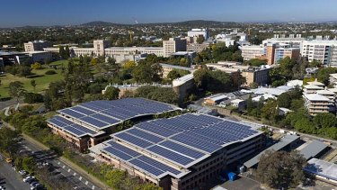 A massive solar panel installation at the University of Queensland.