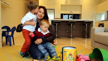 On the waiting list for 10 months: Carla Ornsby with her sons  Lachlan, 4, and Mason, 18 months, at home in Lilyfield.