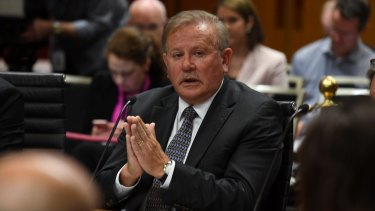 Dr John Grygiel at the parliamentary inquiry on Tuesday.