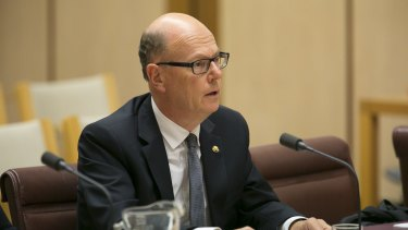 ANZ deputy CEO Graham Hodges  at the  Senate hearing in Melbourne.