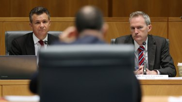 MPs Matt Thistlethwaite and David Coleman question NAB boss Andrew Thorburn.