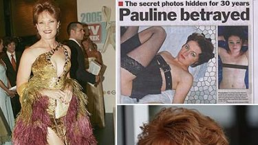 Pauline Hanson ... as she appeared on Dancing with the Stars, the newspaper cutting purporting to show her, and on the campaign trail in Queensland.