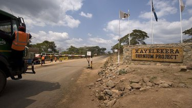 Gates at the Kayelekera uranium project in Malawi in Africa .