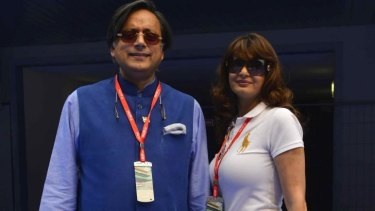 Sudden death: The late Sunanda Pushkar Tharoor, right, with husband Shashi Tharoor.