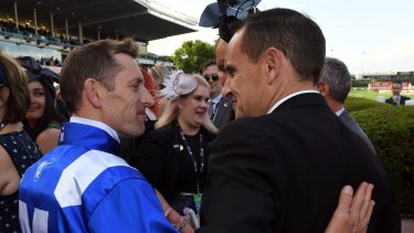 One of many highlights: Jockey Bowman with Chris Waller after Winx won the Cox Plate.