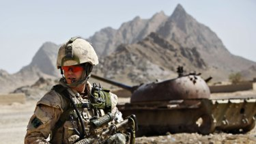 A Canadian soldier on patrol in Afghanistan.