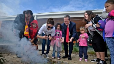 Opposition Leader Bill Shorten and former senator Nova Peris visited Bubup Wilam in 2014 to talk about cuts to Indigenous affairs by the Abbott government.