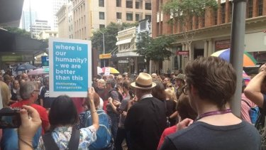 Protesters rally in Brisbane in support of asylum seekers.