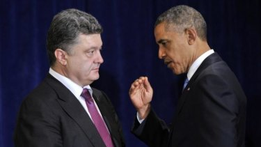 Support ... US President Barack Obama, right, meets with Ukraine president-elect Petro Poroshenko in Warsaw, Poland.