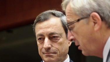 European Central Bank president Mario Draghi (left) with Luxembourg's Prime Minister, Jean-Claude Juncker.