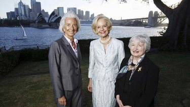 Australia's first female Governor-General, Quentin Bryce (centre), on Friday hosted Janet Yellen (right), the first woman to head the world's most influential financial institution, the US Federal Reserve, and Christine Lagarde, the first woman to lead the International Monetary Fund. Dr Yellen and Ms Lagarde will attend the G20 Finance Ministers and Central Bank Governors meetings this weekend.
