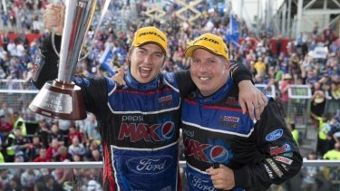 Chaz Mostert and Paul Morris of Ford Performance Racing celebrate winning the Bathurst 1000.