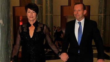 On standby ... Opposition Leader Tony Abbott with his wife Margie.
