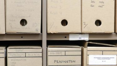 Boxed up: Archive boxes from the David Penington Collection University of Melbourne Archives.