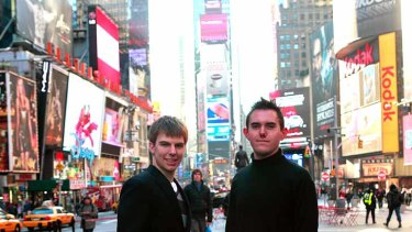 Nathan Hoad and Mark Cracknell, partners in the start-up website Kondoot, pictured in New York's Times Square.