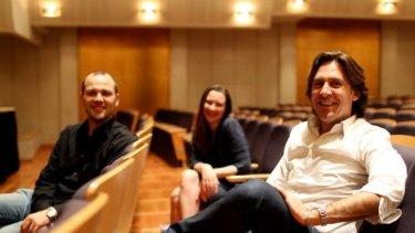 Artistic director David Rowden, pianist Maria Raspopova and guest clarinetist Paul Meyer take a break during rehearsals.