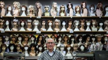 Abe Lourie, 87, runs Creative Wigs in Swanston Street.
